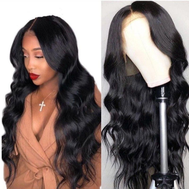 100% Natural Human Hair Lace Front Wigs / Long Hair Wigs For Black Women