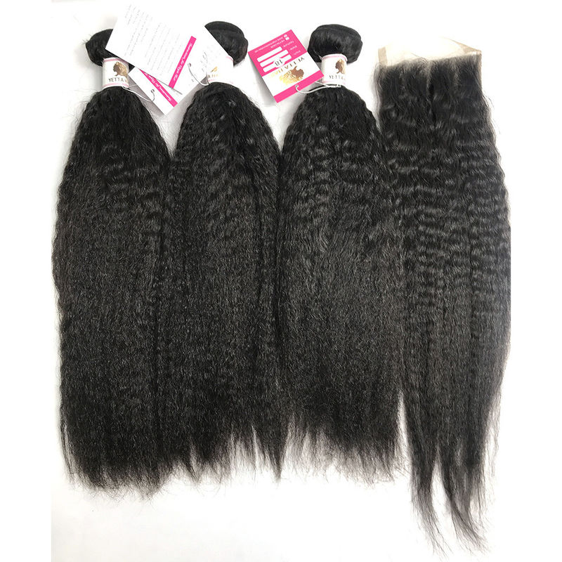 "Kinky Straight Human Hair Peruvian Body Weave 22""  No Smell Curling Safe"